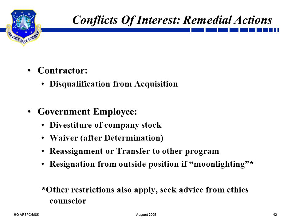 Conflicts Of Interest: Remedial Actions
