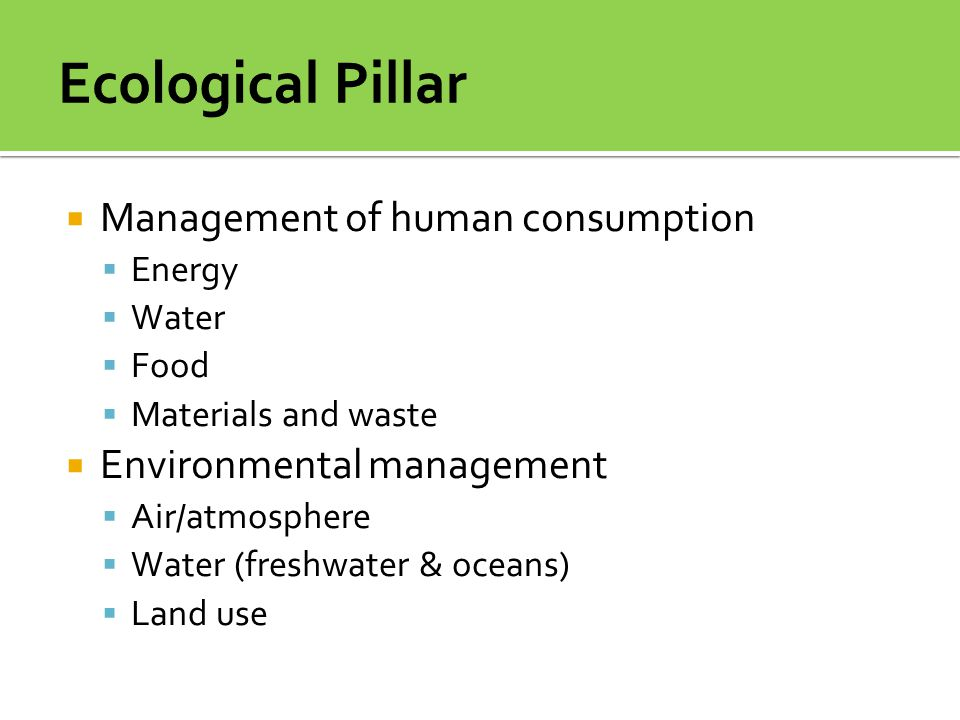 Ecological Pillar Management of human consumption