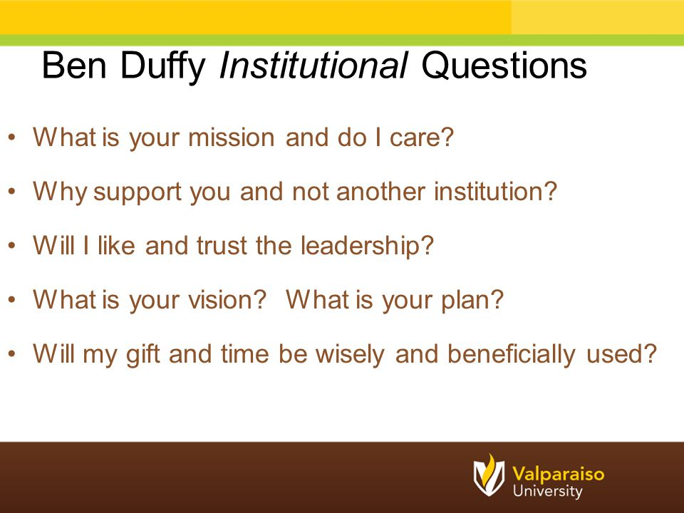 Ben Duffy Institutional Questions