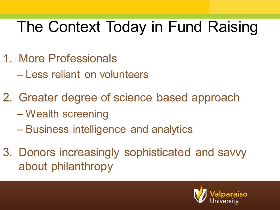 The Context Today in Fund Raising