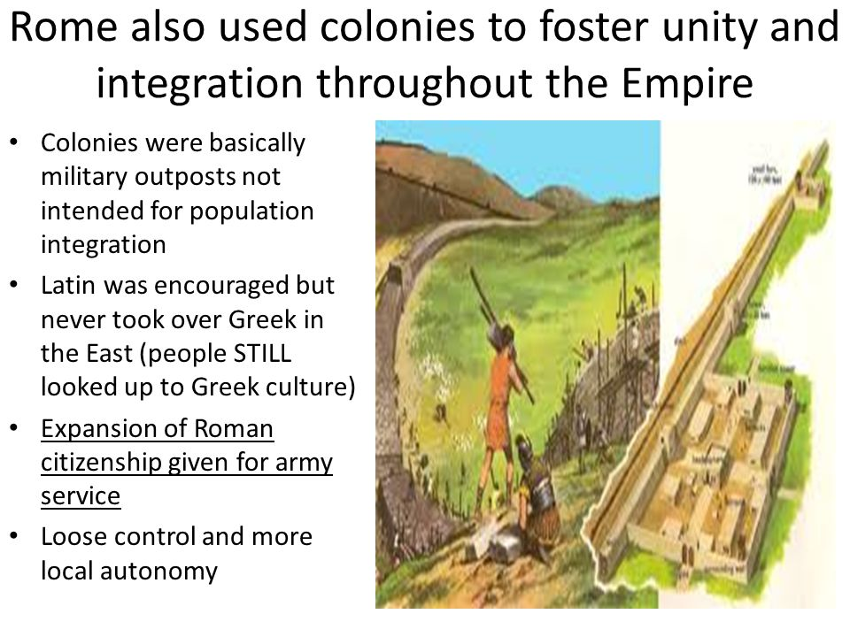Rome also used colonies to foster unity and integration throughout the Empire