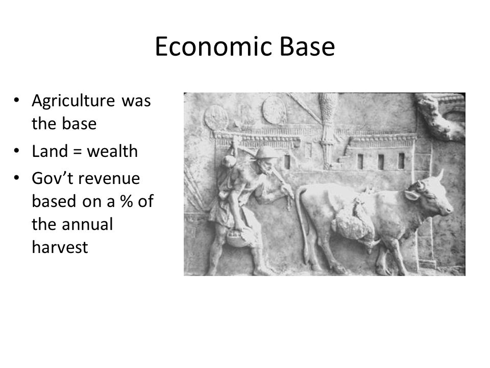 Economic Base Agriculture was the base Land = wealth