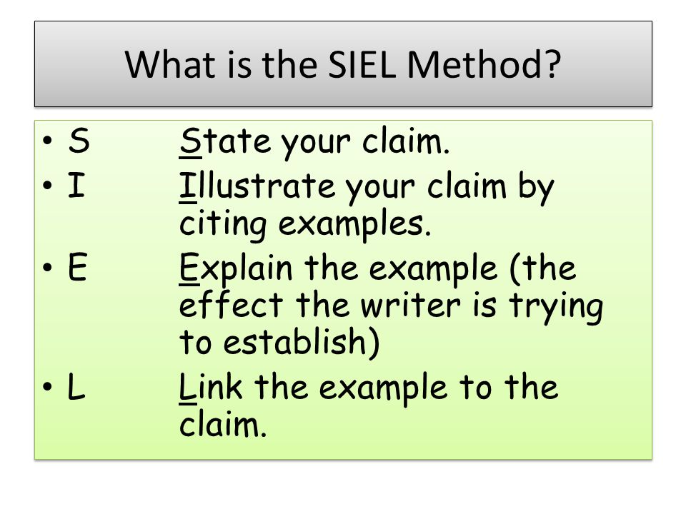 What is the SIEL Method S State your claim.