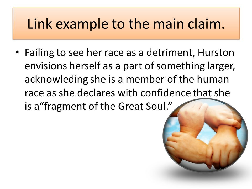 Link example to the main claim.