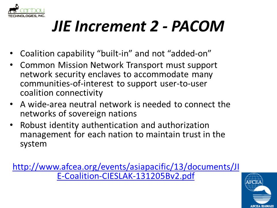 JIE Increment 2 - PACOM Coalition capability built-in and not added-on