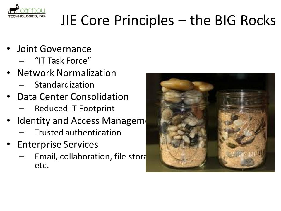 JIE Core Principles – the BIG Rocks