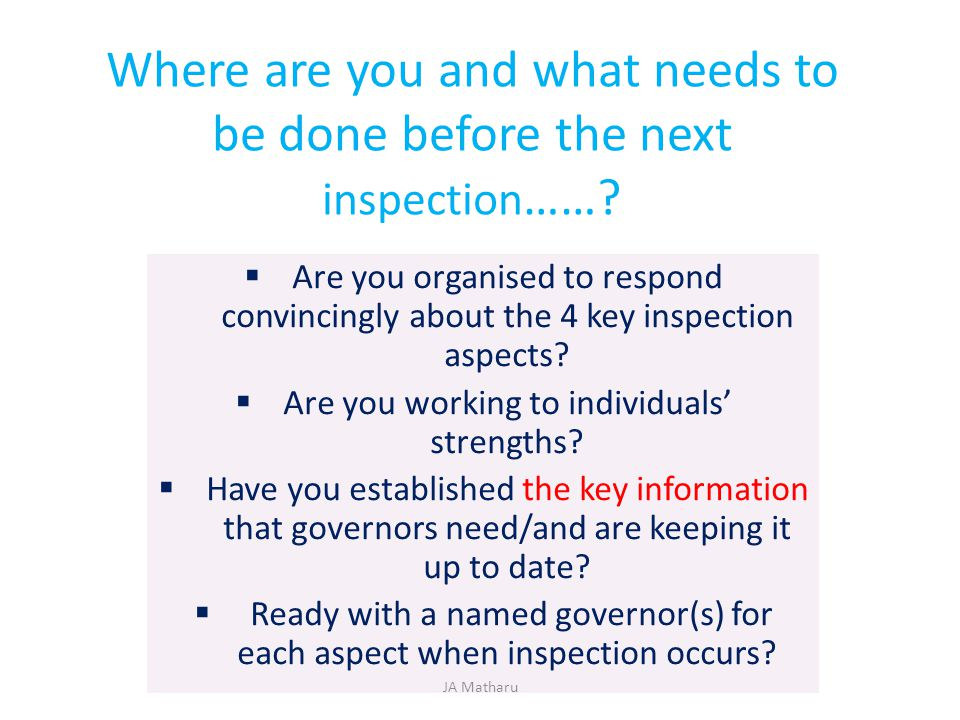 Where are you and what needs to be done before the next inspection……