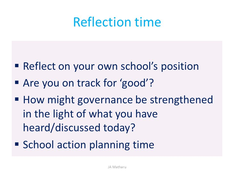 Reflection time Reflect on your own school's position