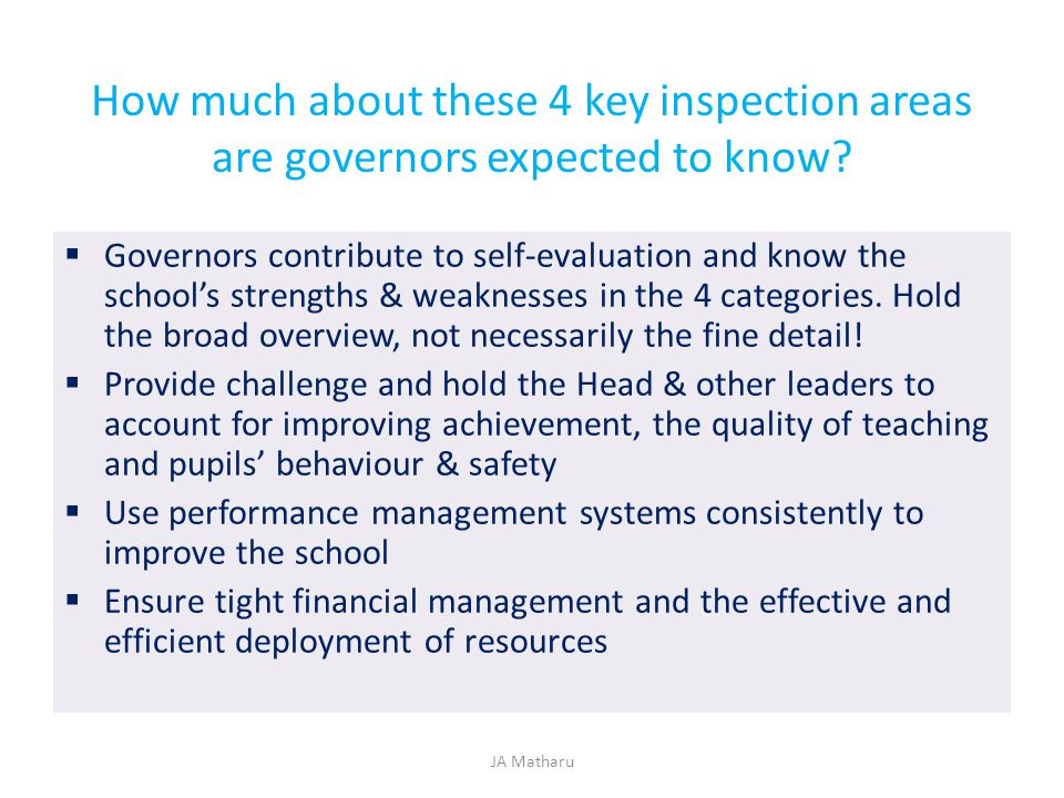 How much about these 4 key inspection areas are governors expected to know