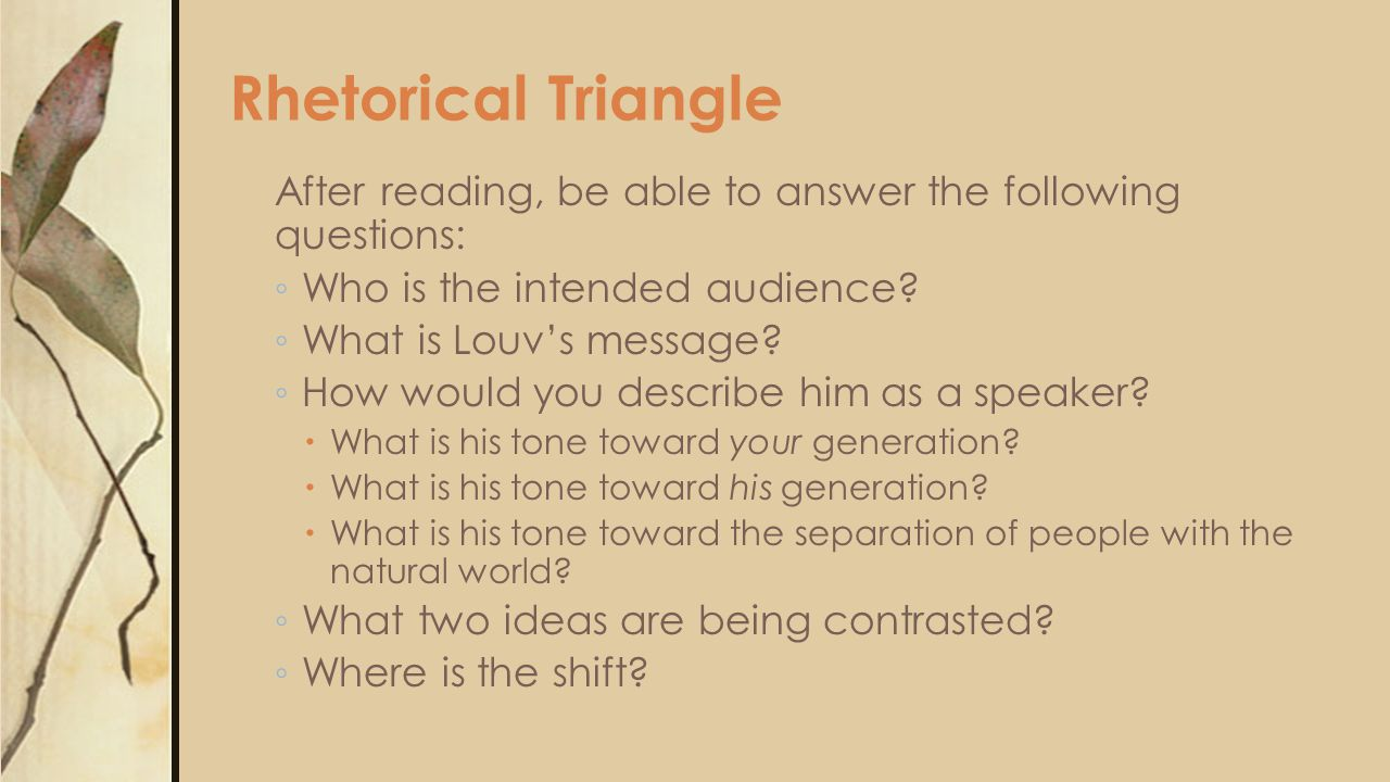 Rhetorical Triangle After reading, be able to answer the following questions: Who is the intended audience