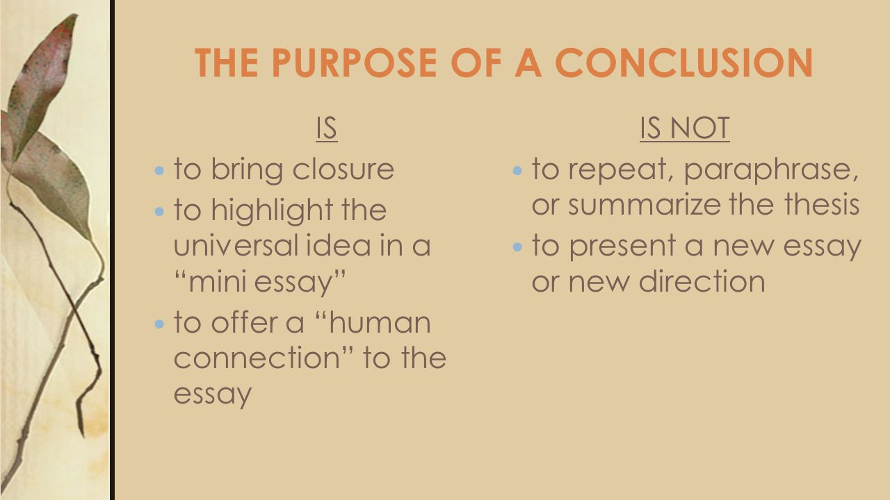 THE PURPOSE OF A CONCLUSION