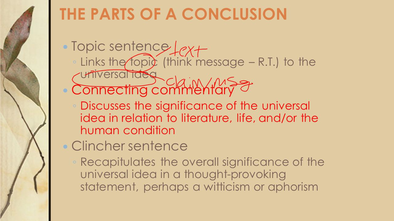 THE PARTS OF A CONCLUSION