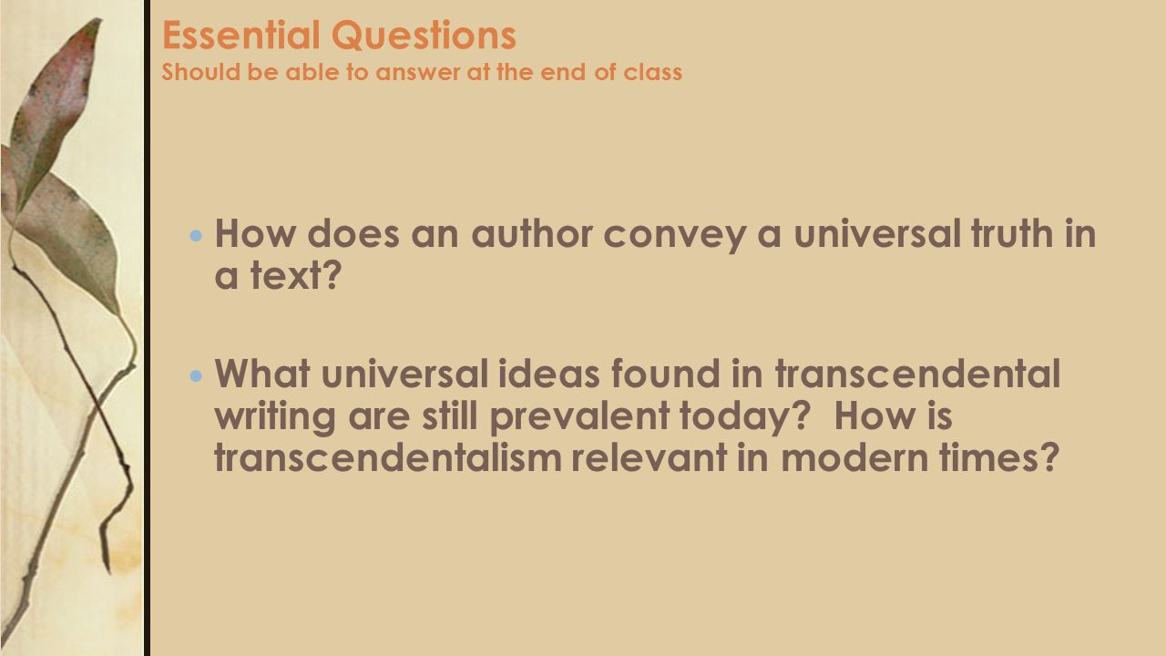 Essential Questions Should be able to answer at the end of class