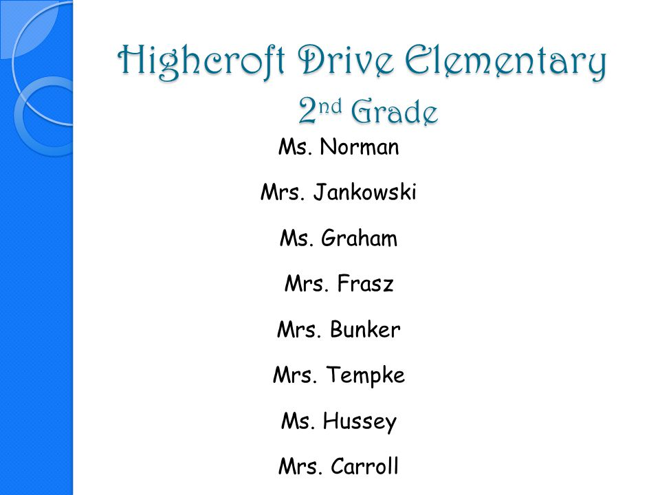Highcroft Drive Elementary 2nd Grade