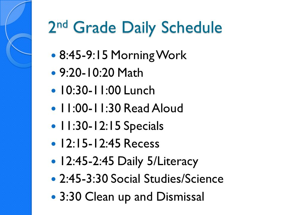2nd Grade Daily Schedule