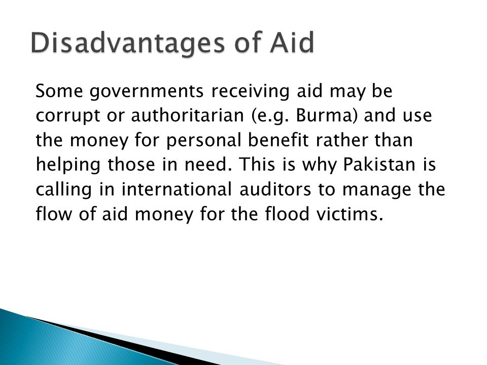 Disadvantages of Aid