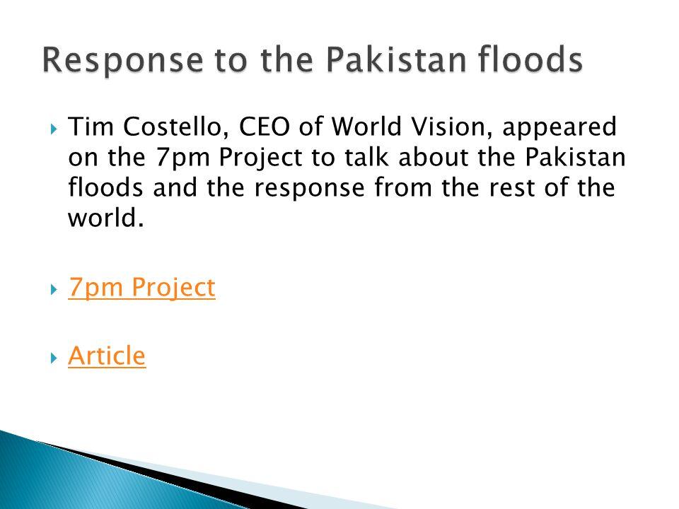 Response to the Pakistan floods