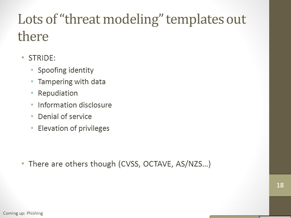Lots of threat modeling templates out there