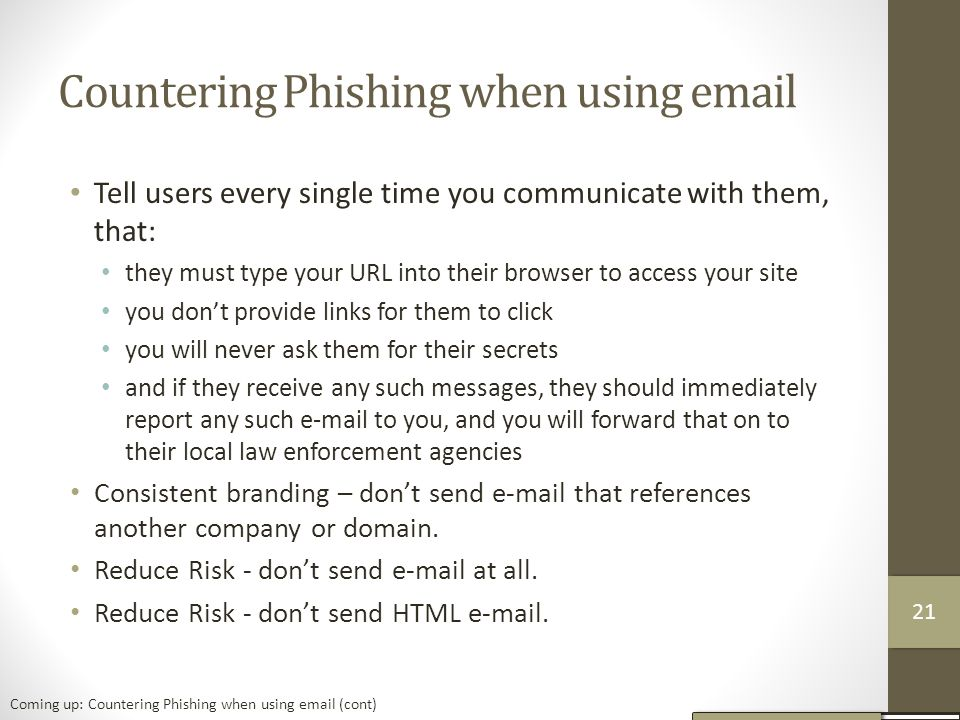 Countering Phishing when using email