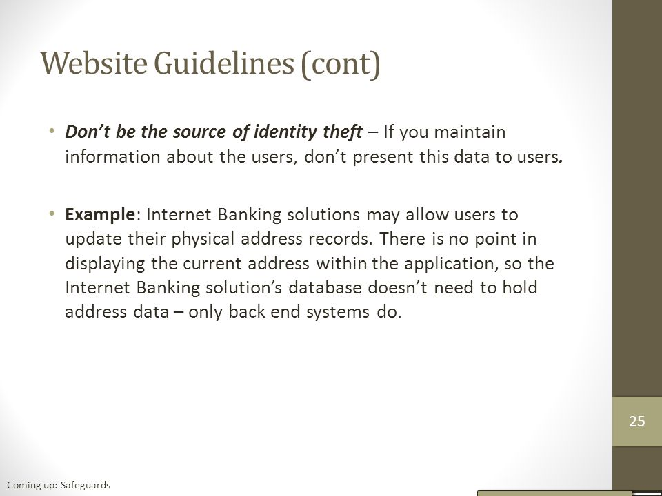 Website Guidelines (cont)