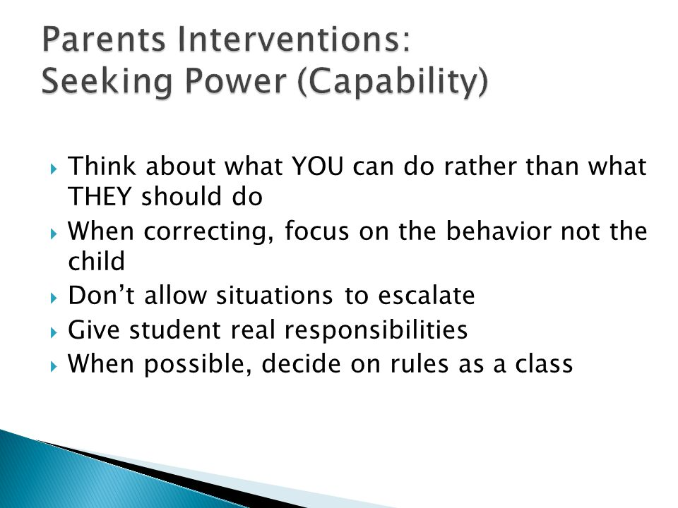Parents Interventions: Seeking Power (Capability)