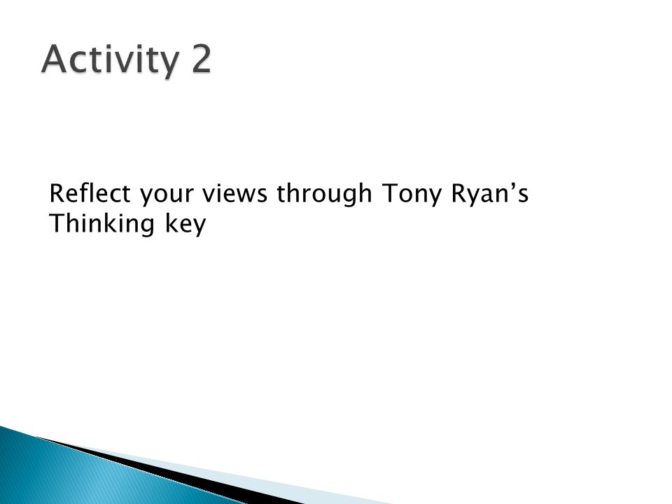 Activity 2 Reflect your views through Tony Ryan's Thinking key