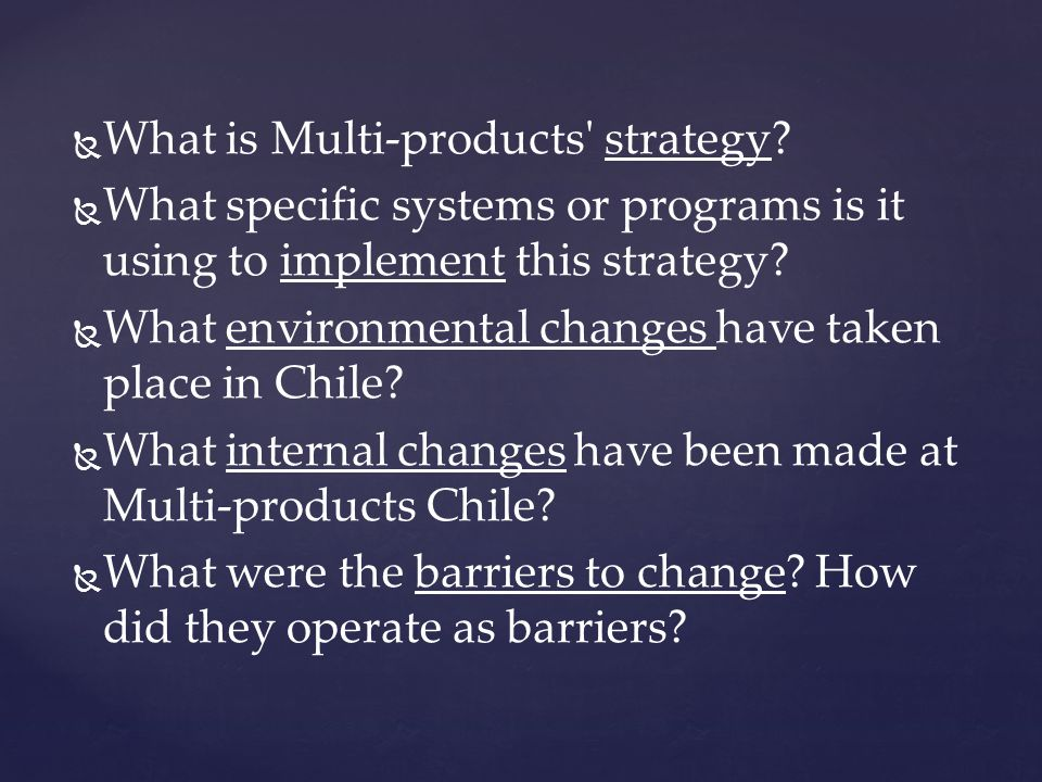 What is Multi-products strategy