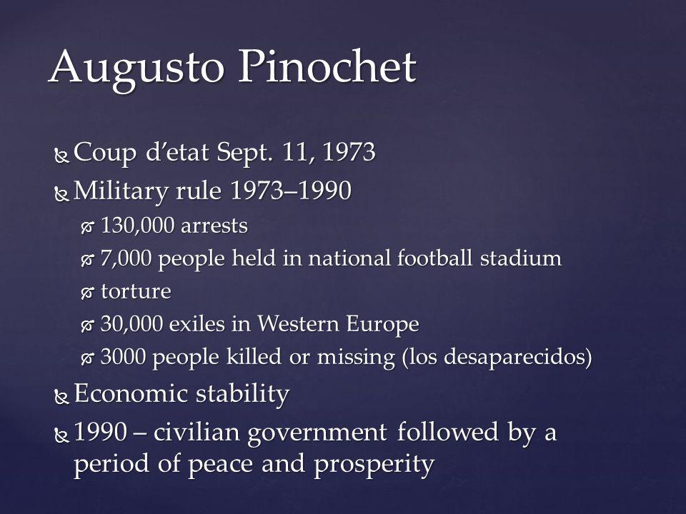 Augusto Pinochet Coup d'etat Sept. 11, 1973 Military rule 1973–1990