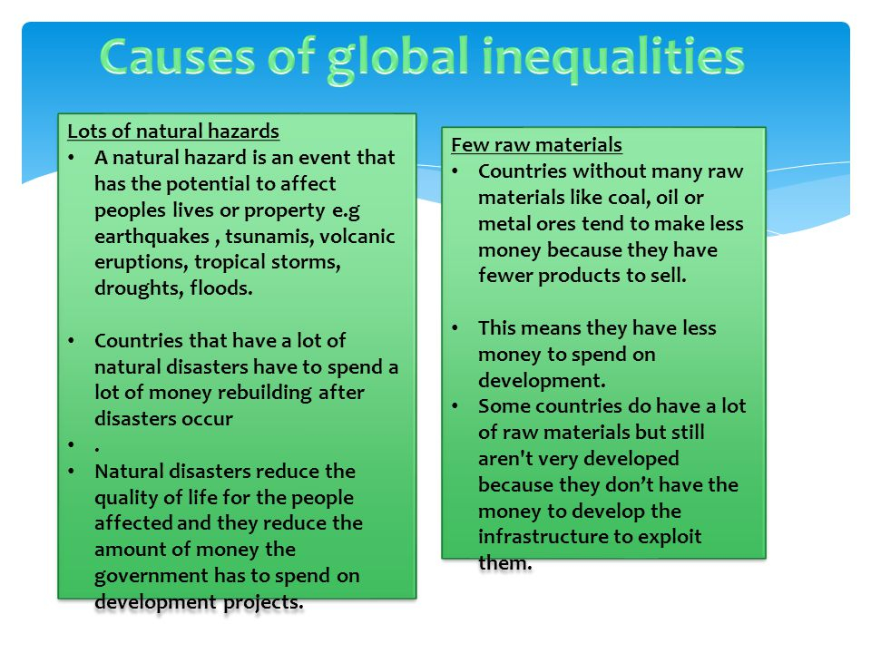 Causes of global inequalities