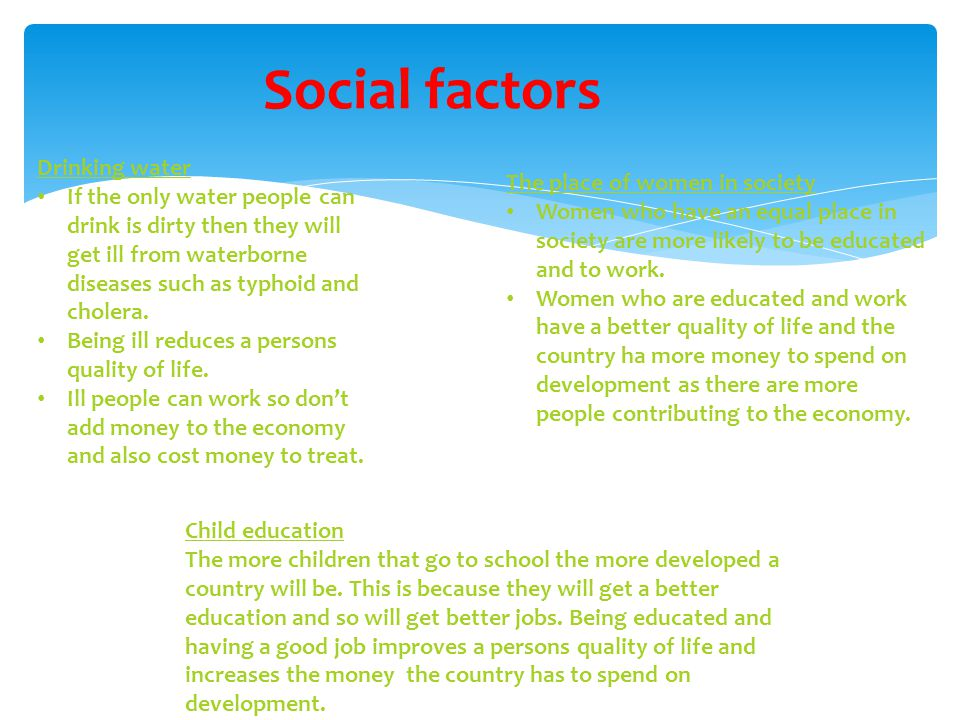 Social factors Drinking water