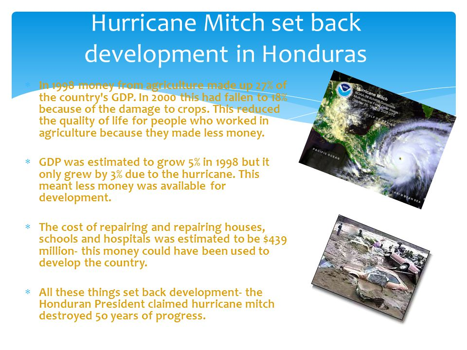 Hurricane Mitch set back development in Honduras