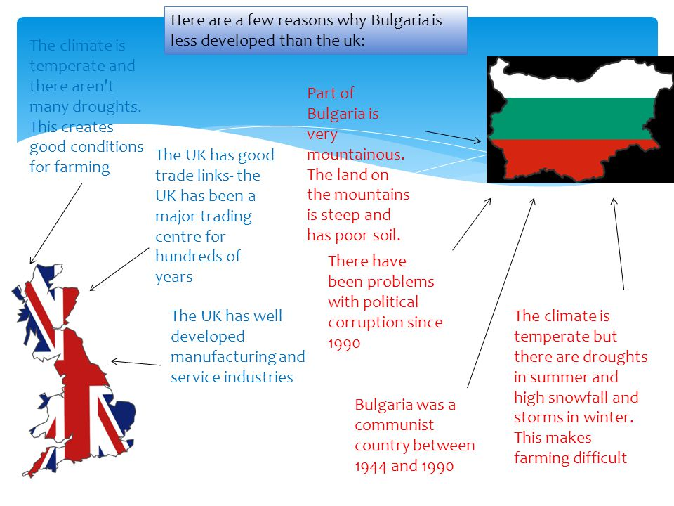 Here are a few reasons why Bulgaria is less developed than the uk: