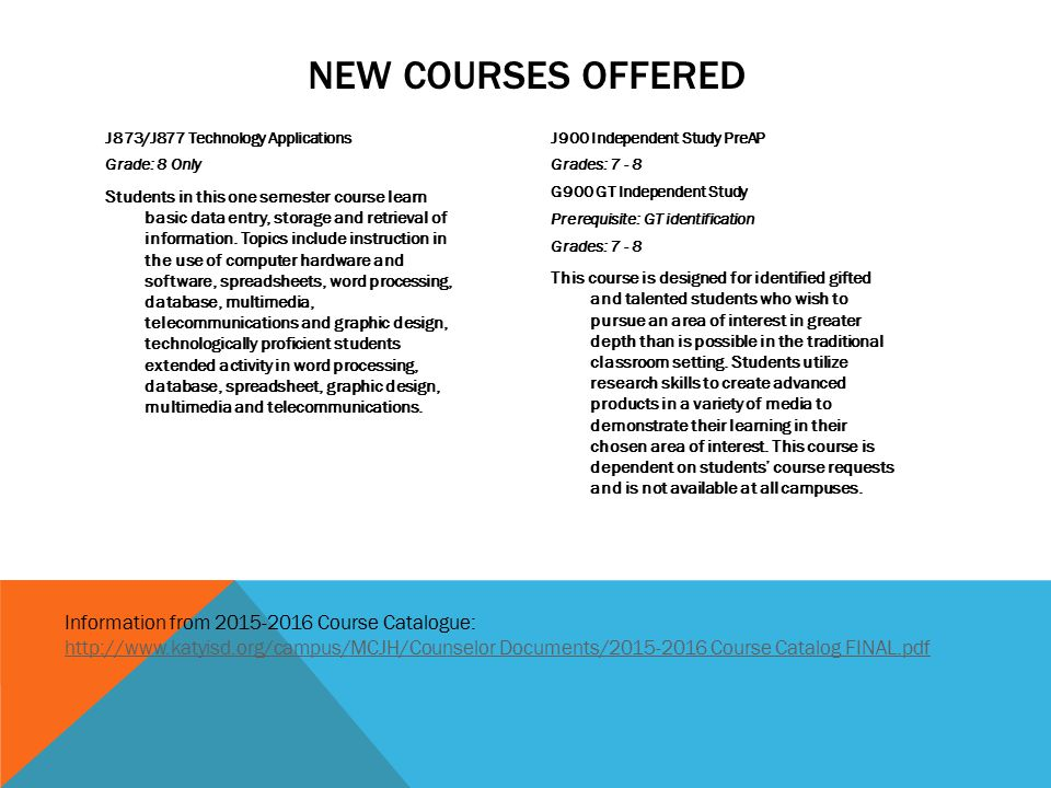 New Courses offered Information from 2015-2016 Course Catalogue: