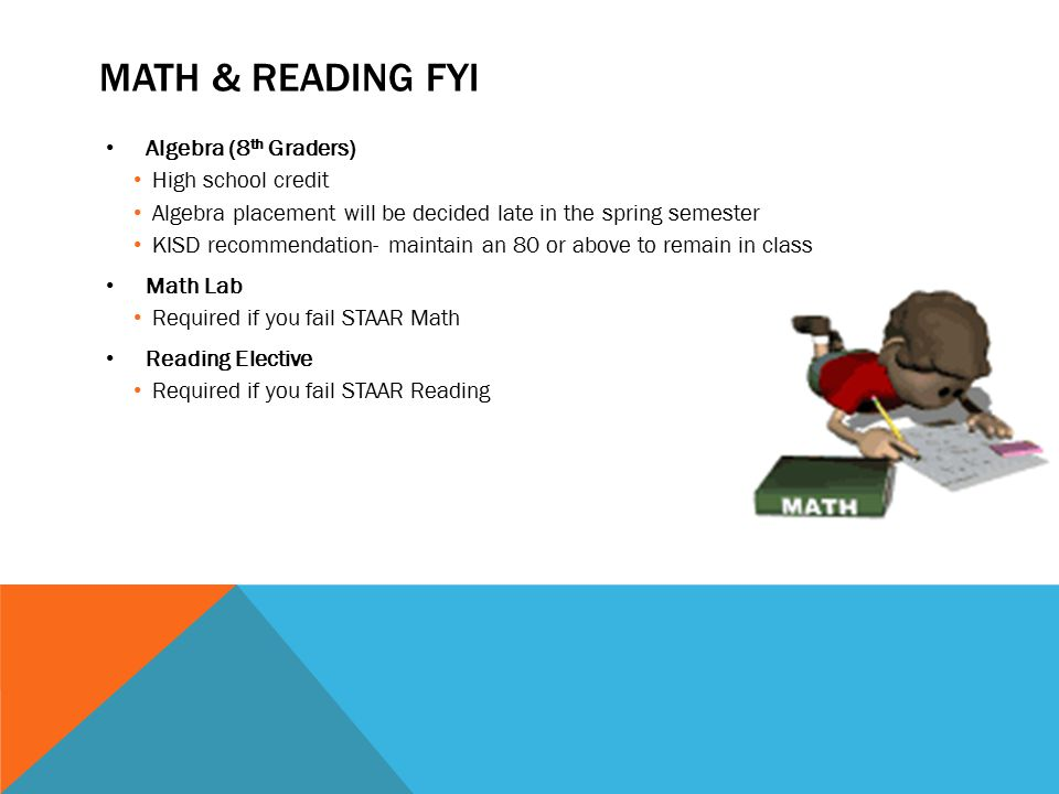 Math & Reading FYI Algebra (8th Graders) High school credit