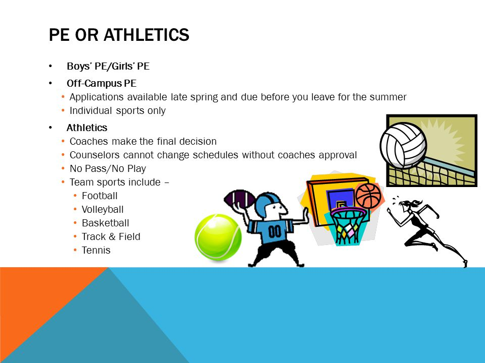 PE or Athletics Boys' PE/Girls' PE Off-Campus PE