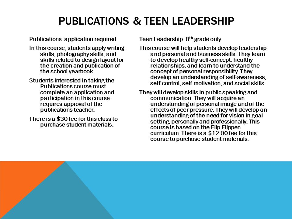 Publications & Teen Leadership