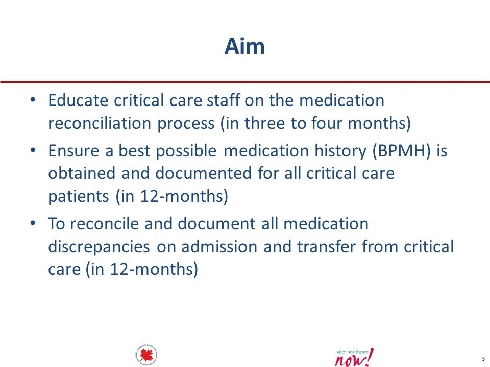 Aim Educate critical care staff on the medication reconciliation process (in three to four months)