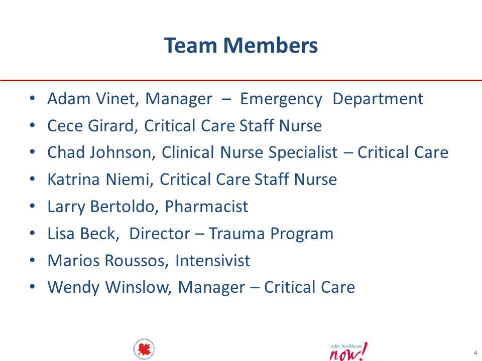 Team Members Adam Vinet, Manager – Emergency Department