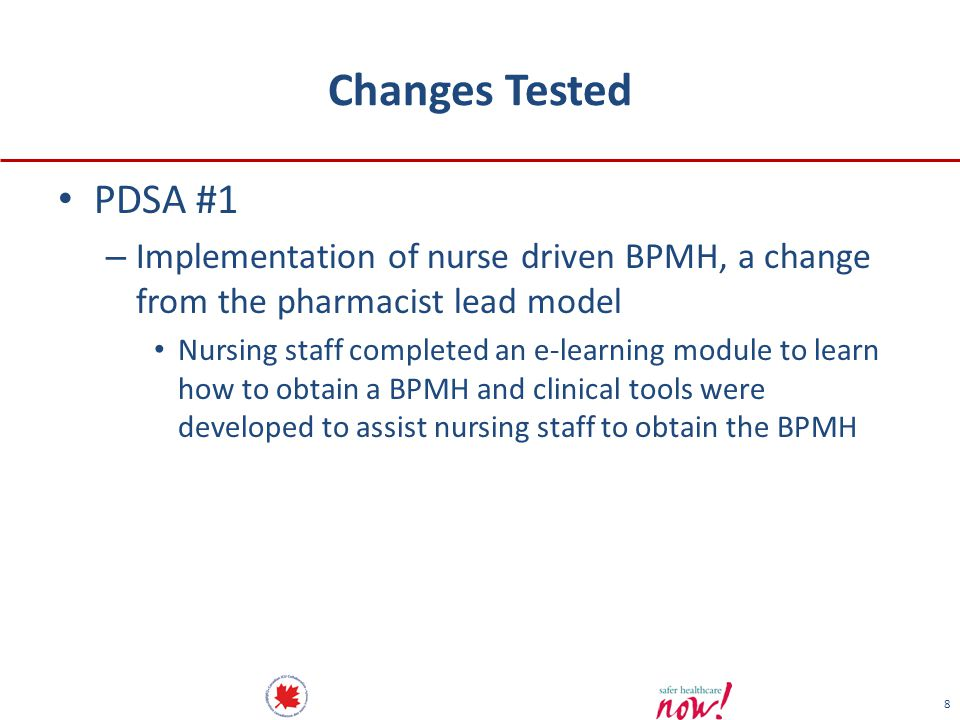 Changes Tested PDSA #1. Implementation of nurse driven BPMH, a change from the pharmacist lead model.