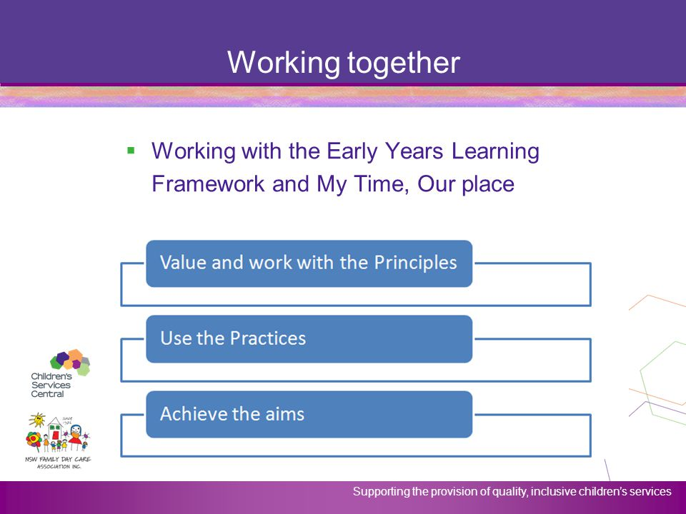 Working together Working with the Early Years Learning Framework and My Time, Our place