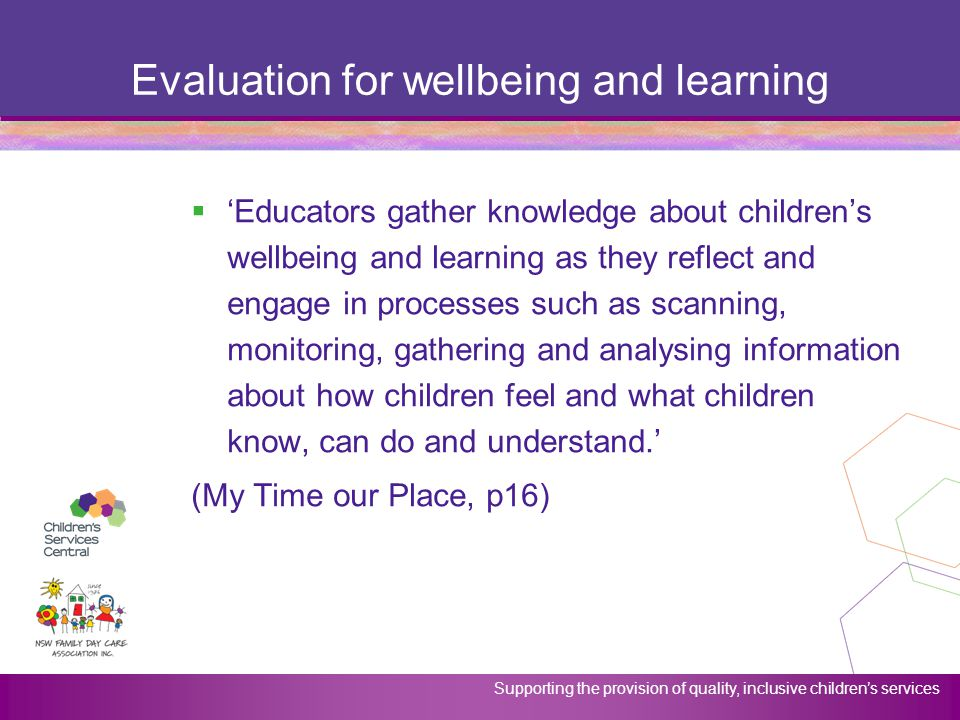 Evaluation for wellbeing and learning