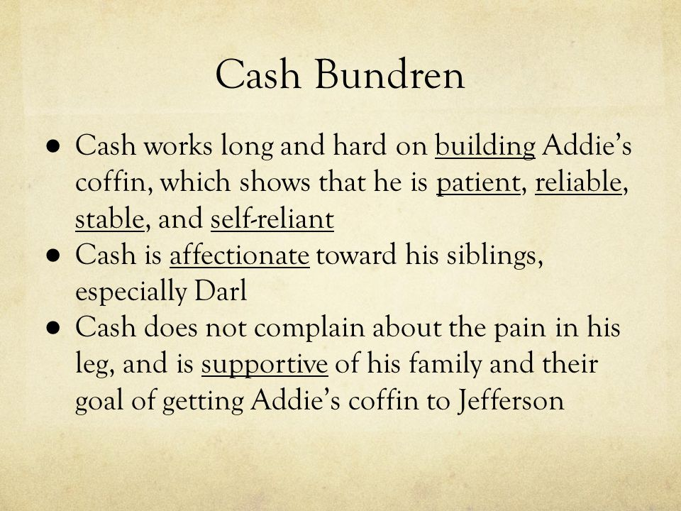 cash bundren Cash bundren essay sample william faulkner's as i lay dying is about a poor family's struggle to cope with the death of their mother addie and transport her body to the jefferson cemetery.
