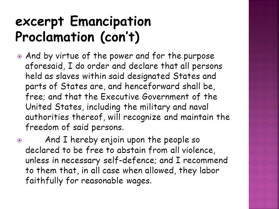 excerpt Emancipation Proclamation (con't)