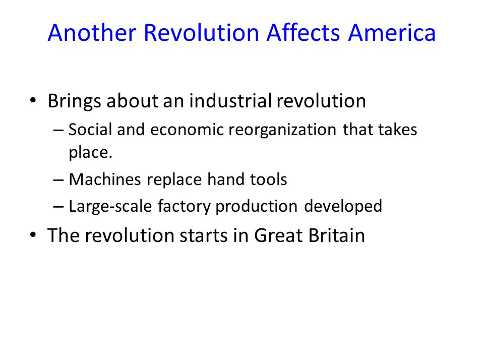 Another Revolution Affects America