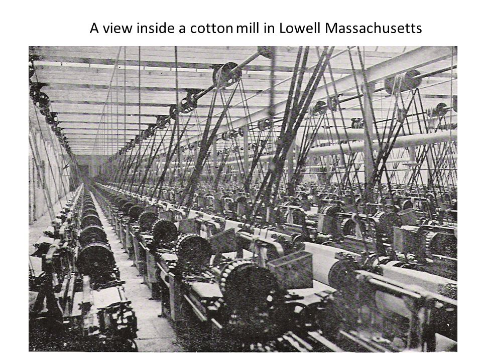 A view inside a cotton mill in Lowell Massachusetts