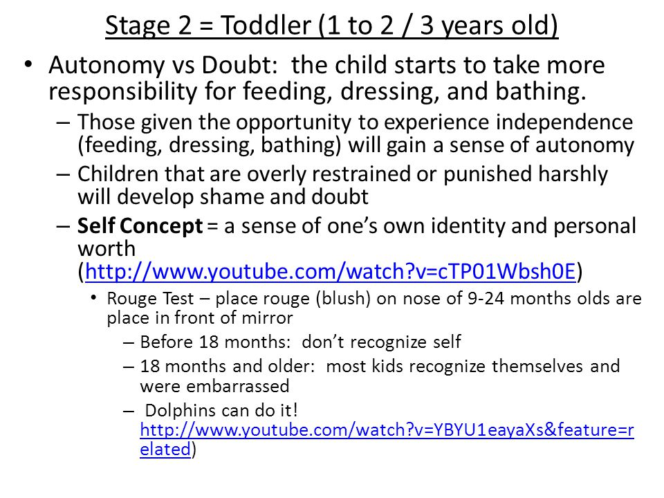 Stage 2 = Toddler (1 to 2 / 3 years old)