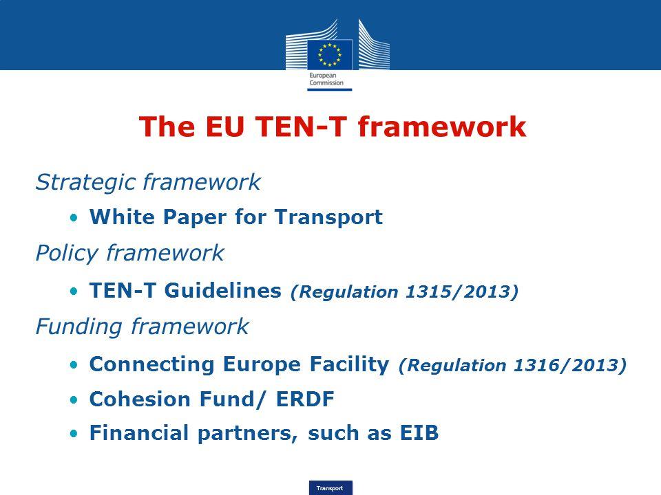 The EU TEN-T framework Strategic framework Policy framework