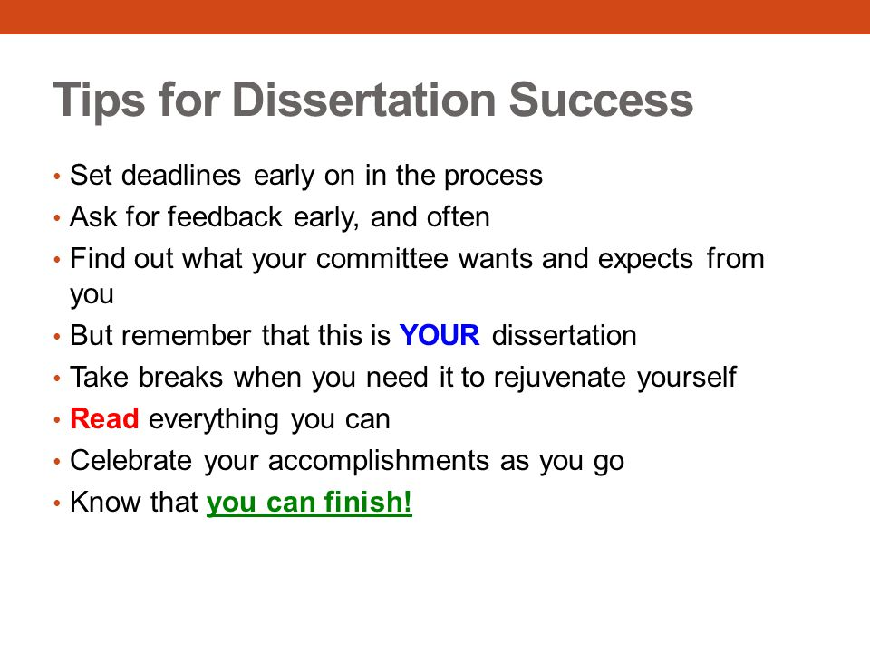 Tips for Dissertation Success