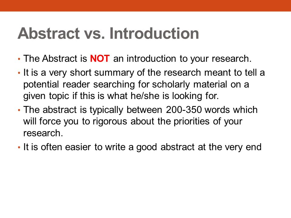 Abstract vs. Introduction
