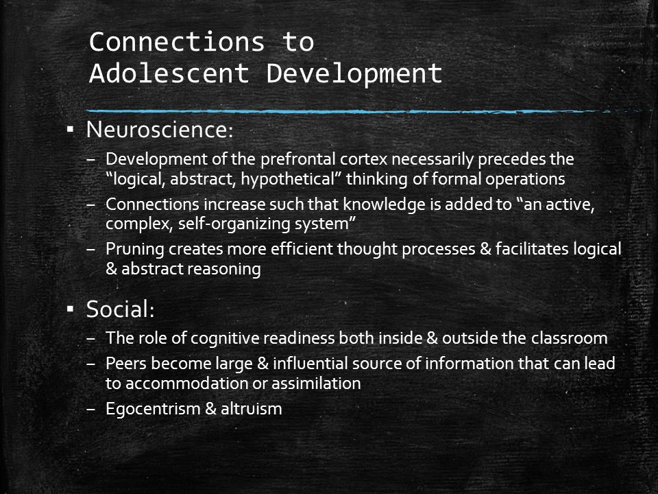 Connections to Adolescent Development